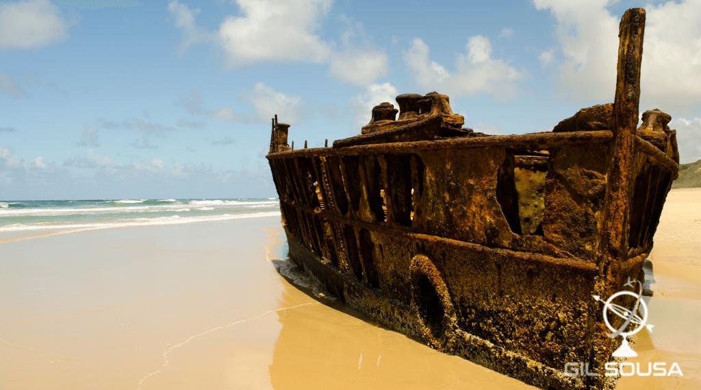 Destroços de navio na ilha de Fraser