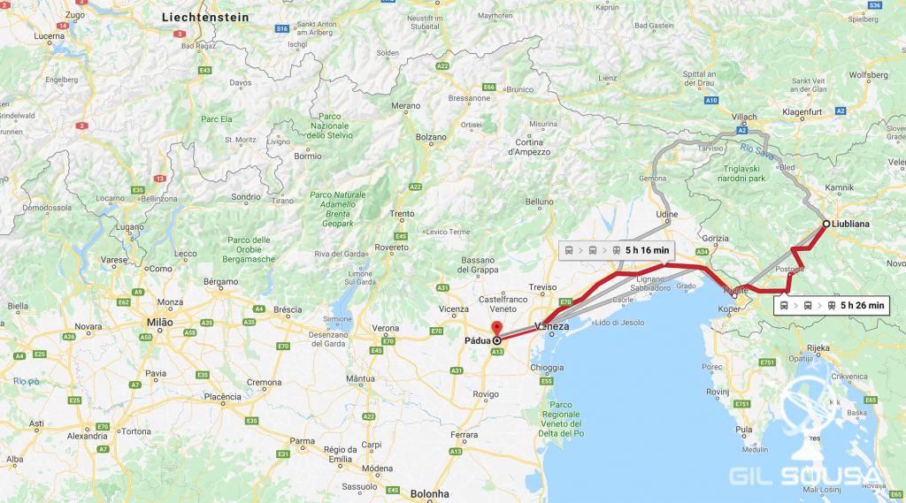 De Ljubljana a Pádua
