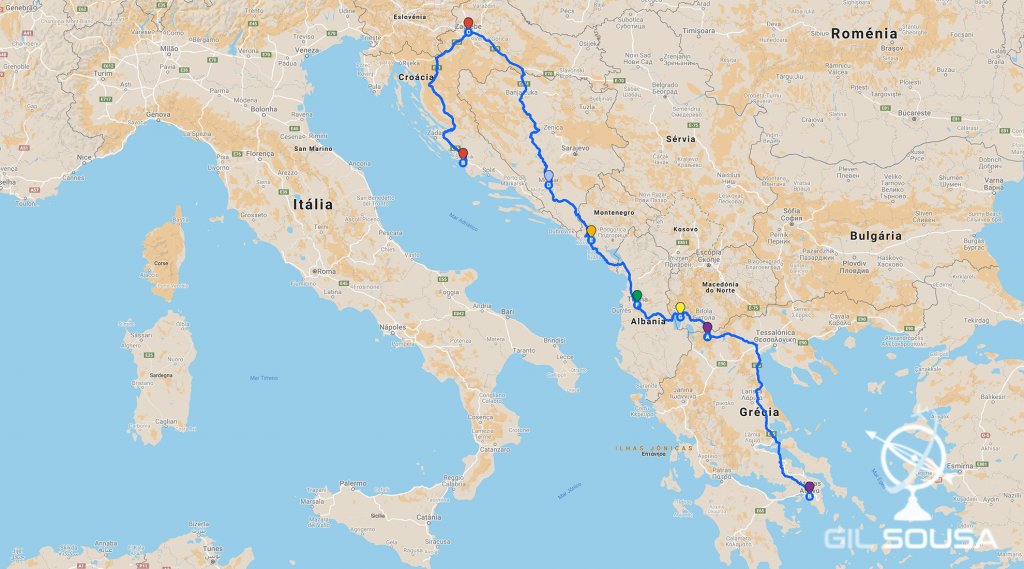 Mapa do Itinerário pelos Balcãs