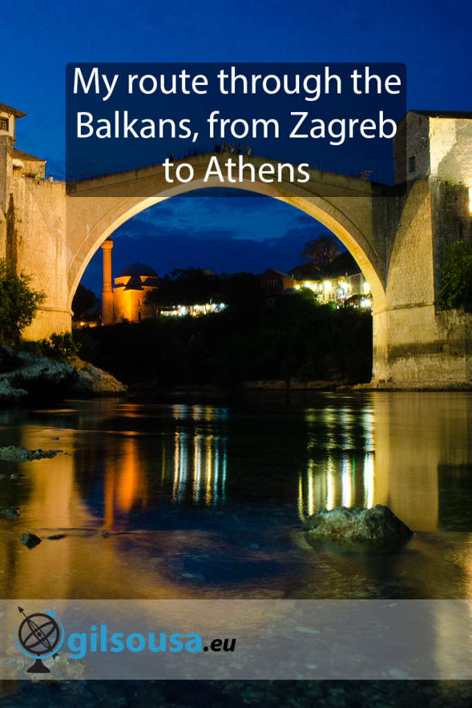 My route through the Balkans, from Zagreb to Athens