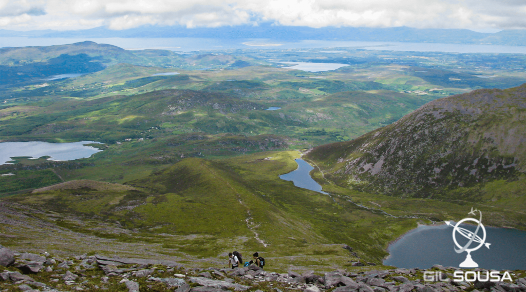 View of the Killarney Lakes while heading to the top of Carrauntoohil