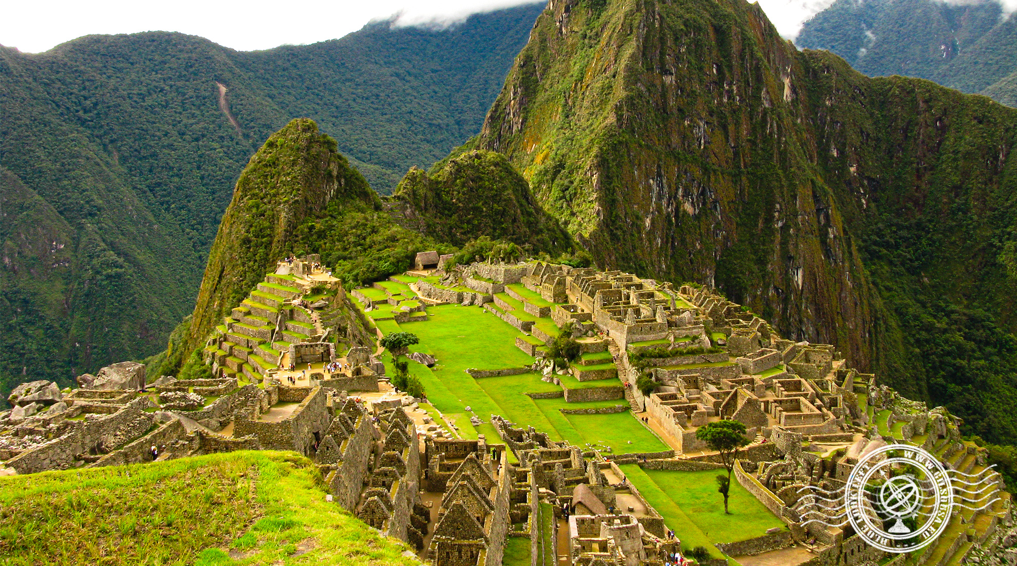 Classical view of Machu Picchu and Huayna Picchu
