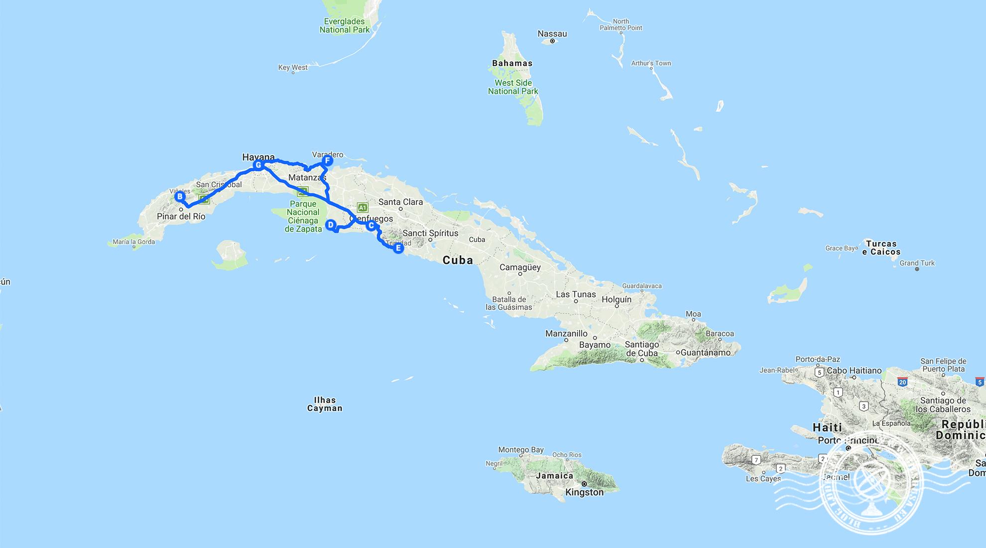 Rota da viagem a Cuba
