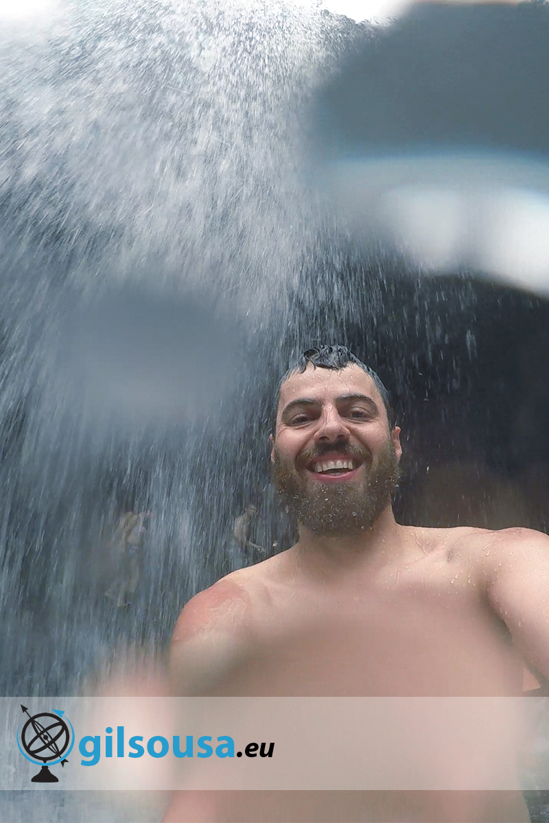 Selfie under a waterfall