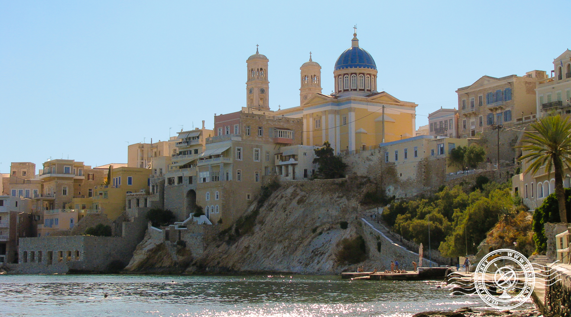 View from a small beach in Syros, Greece