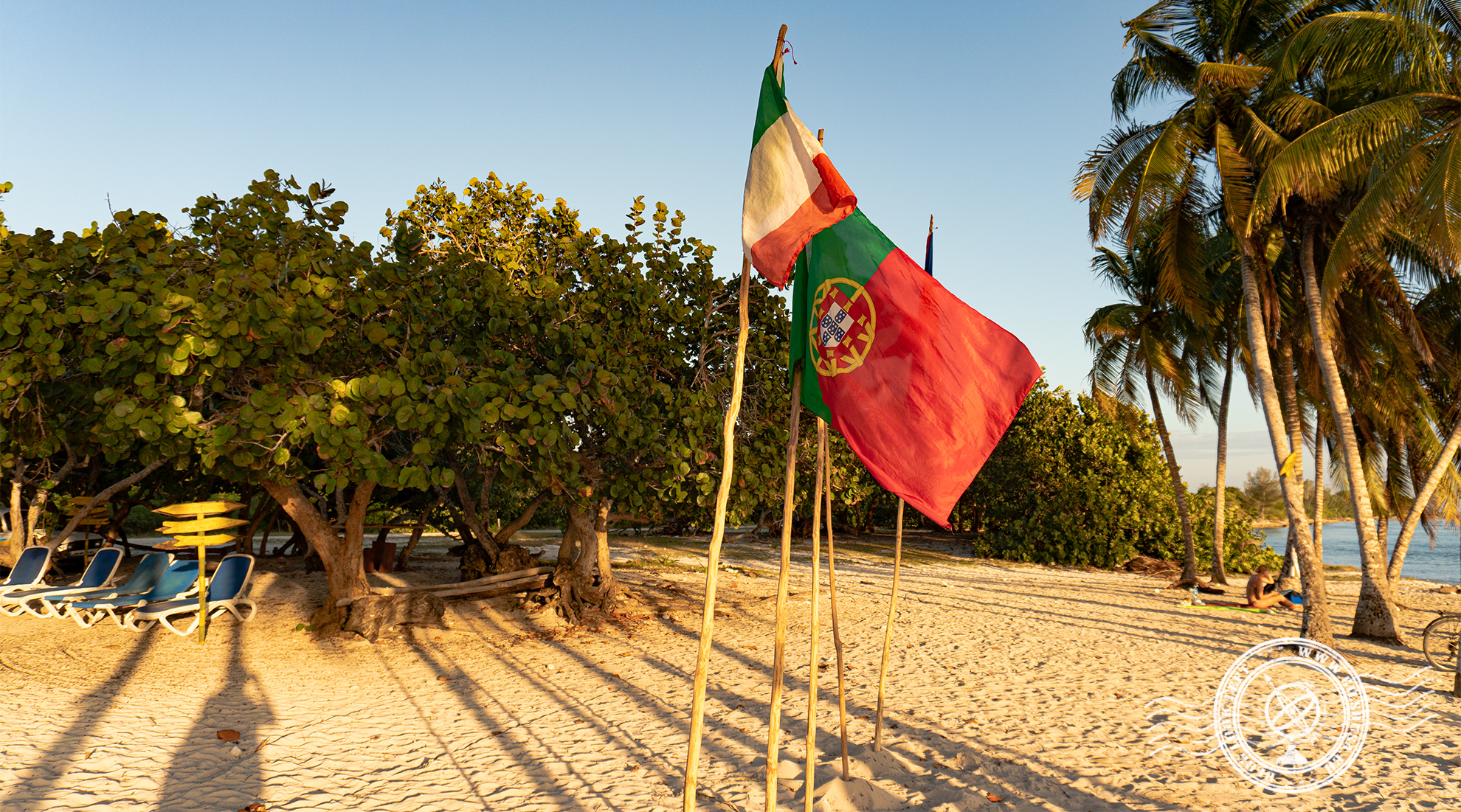 Portuguese and Irish flags at Playa Girón