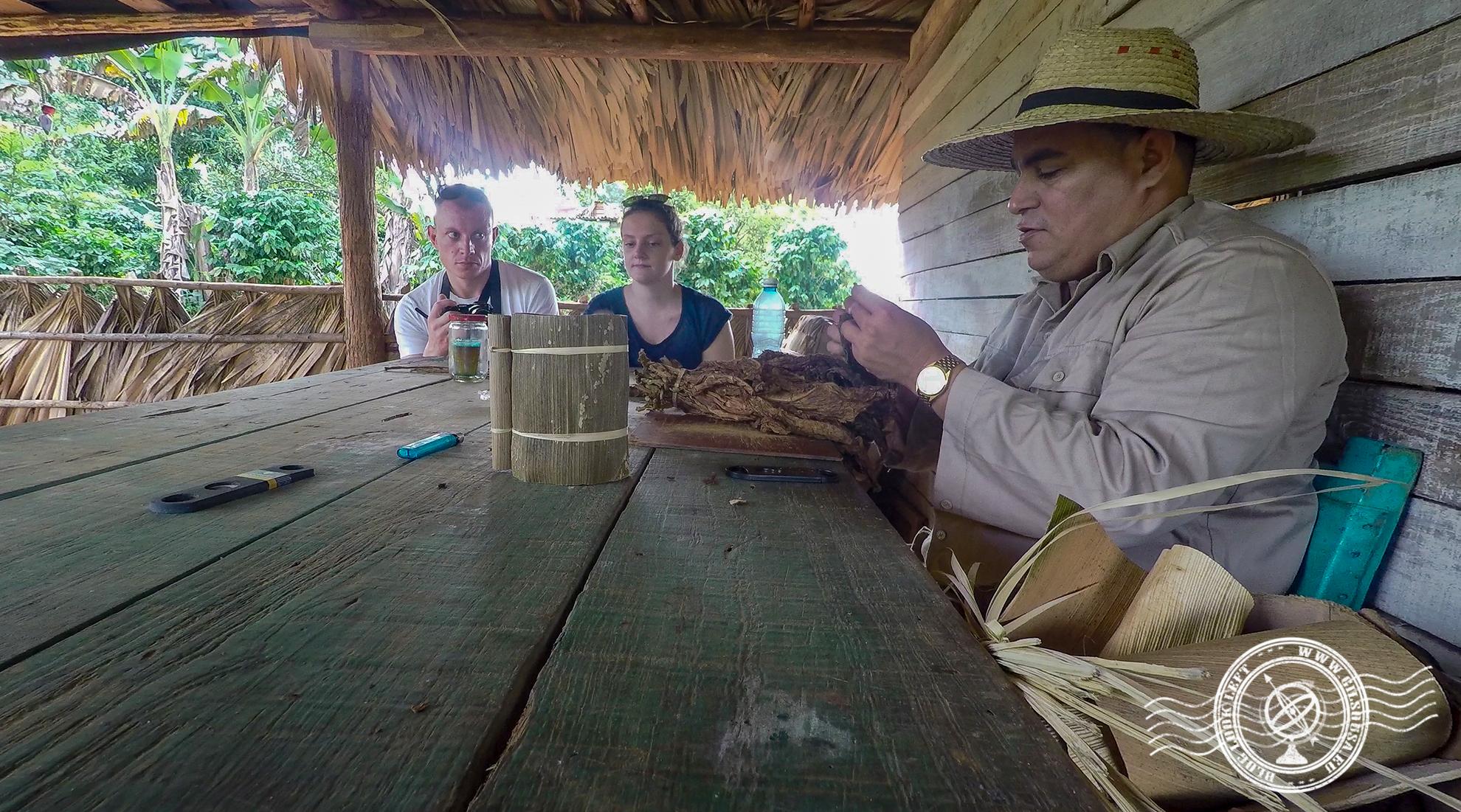 Farmer hand-rolling a cigar