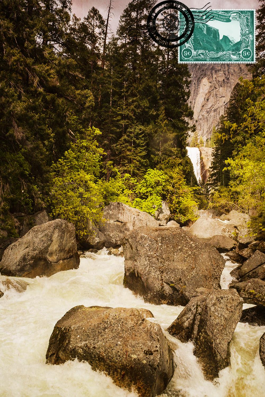 Rio Merced e Cascata Vernal Falls ao fundo