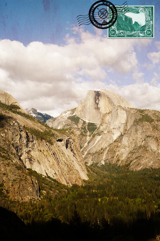 Vista para o Half Dome do trilho para o topo da Lower Yosemite Fall