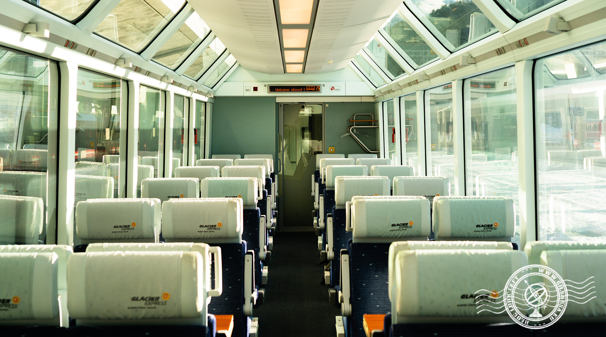 Interior do Glacier Express