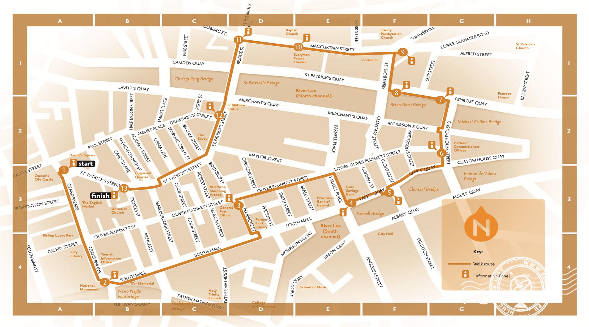 Mapa da Rota da Ilha Central de Cork