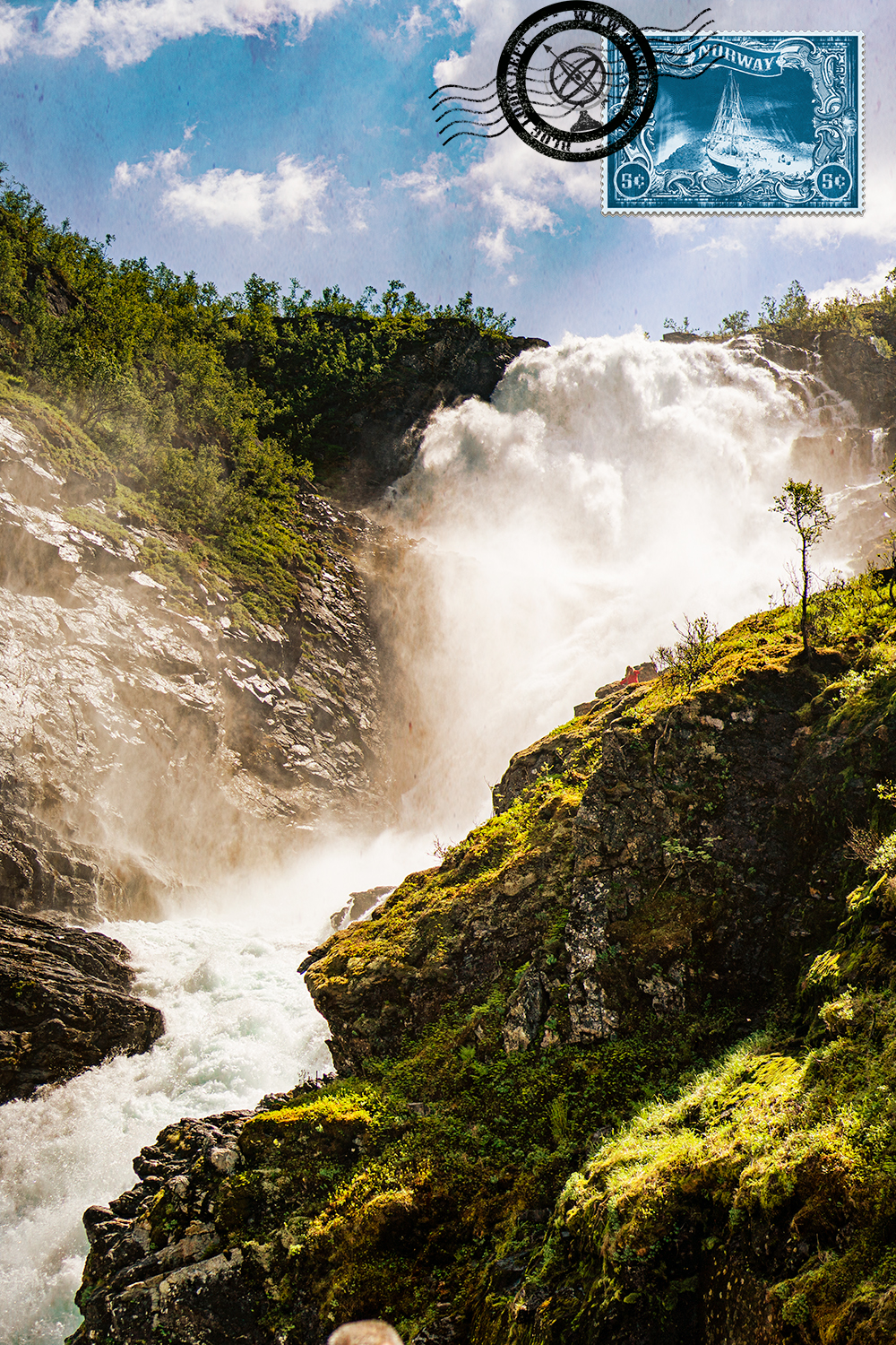View over the Kjosfossen Waterfall from the train stop