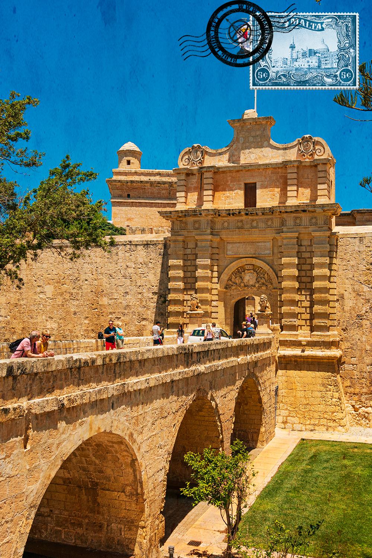 Entrada principal de da fortificação em Mdina