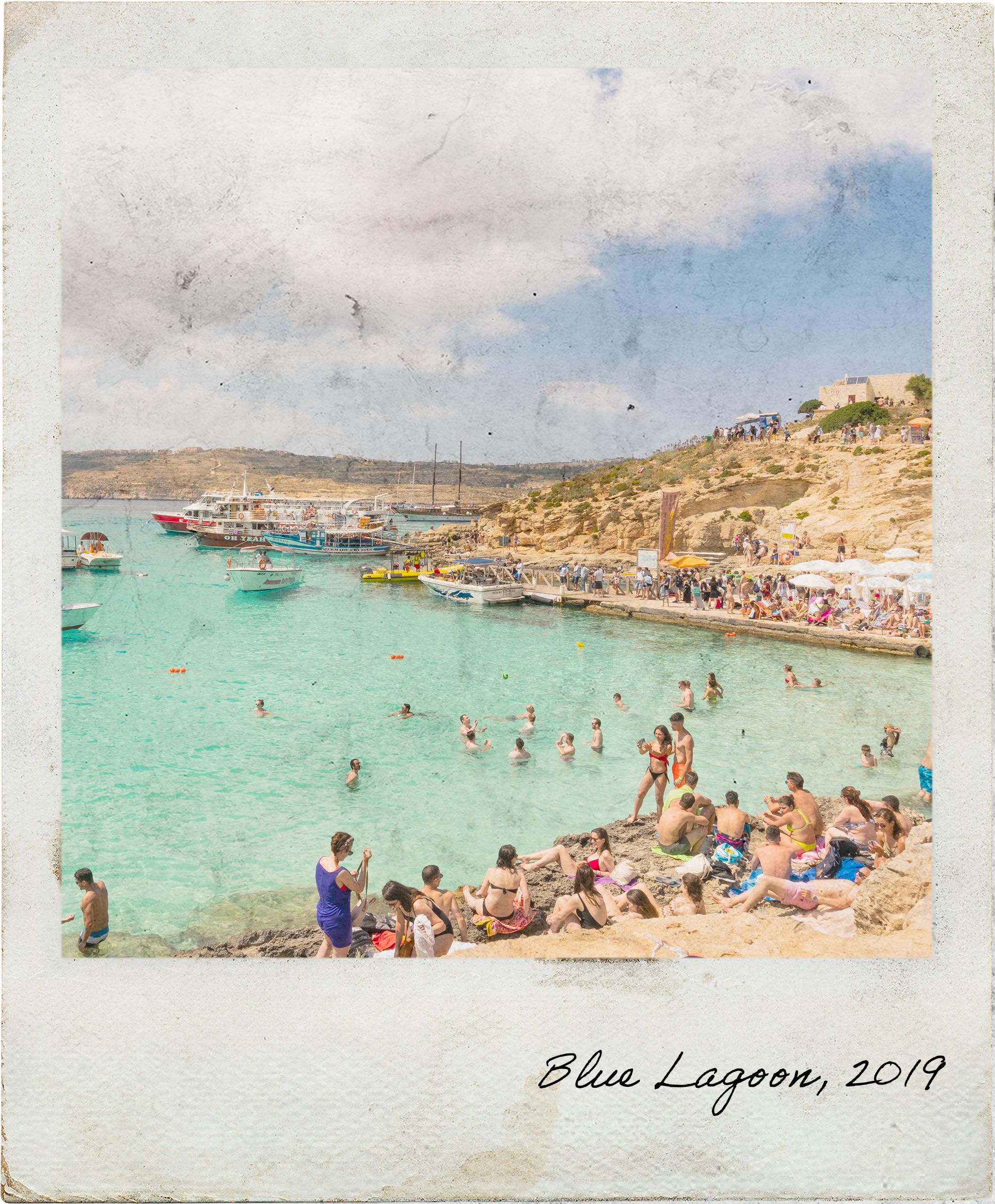 Mini-praia na Blue Lagoon em Comino